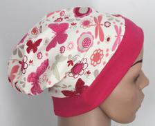 Mütze Beanie - Schmetterlinge/Blumen - Kinder Mädchen rosa, grau, pink