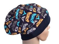 Mütze Beanie Fleece - Zocker - Kinder Jungen, blau