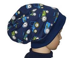 Mütze Beanie Fleece - Trecker - Kinder Jungen, dunkelblau grün