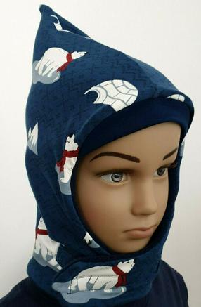 Wintermütze - Eisbär - Jersey Fleece Jungen Mädchen Kinder